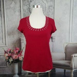 Dress Barn Red Short Sleeve Top Blouse Size Medium